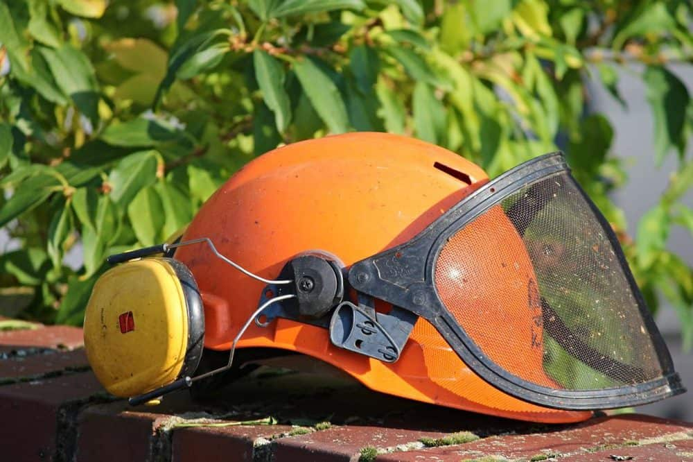 Hardhat with visor and ear defenders