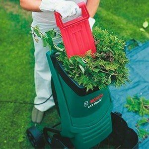 Garden Shredder Questions - Man pushing leaves into impact mower