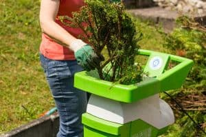Women feeding spruce into garden shredder
